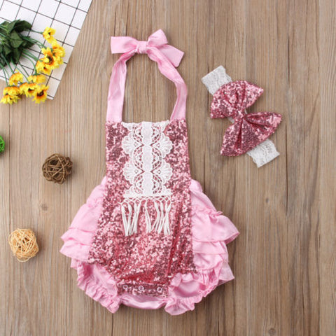 Gorgeous pink baby summer romper and headband set