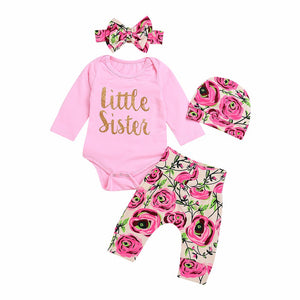 Little sister 4 piece pink floral clothing set