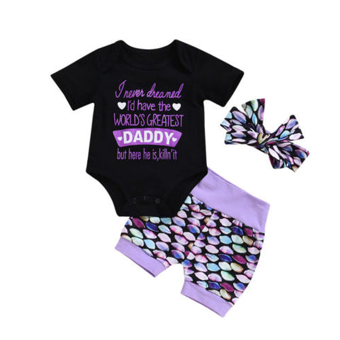 Daddy is here killn' it! 3 piece set bodysuit, headband and shorts purple