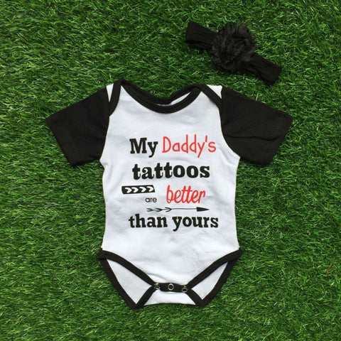 Baby girl's My Daddy's tattoos are better than yours bodysuit and headband set