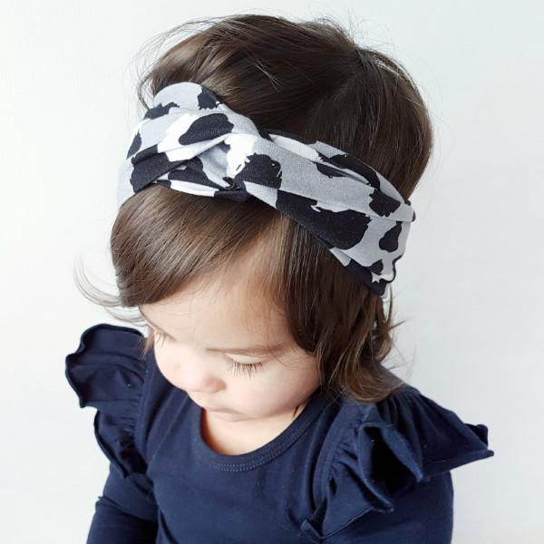 Black and Silver Leopard Print Turban Headband