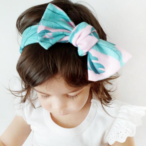 Pink Palm Print Bow Knot Headband