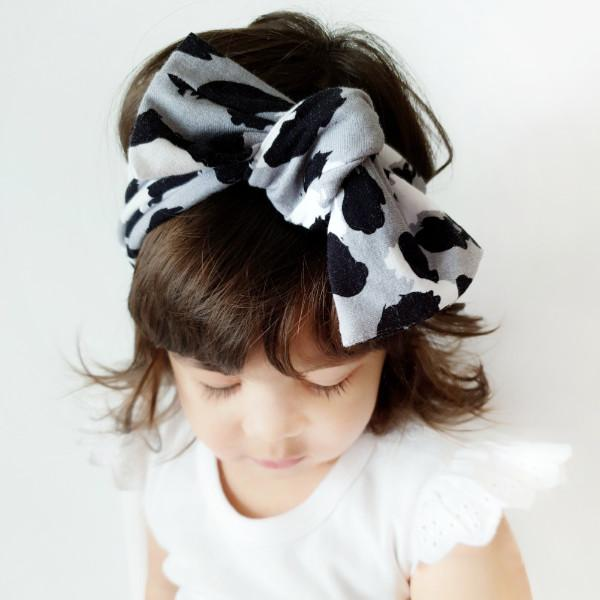 Black and Silver Leopard Print Bow Knot Headband
