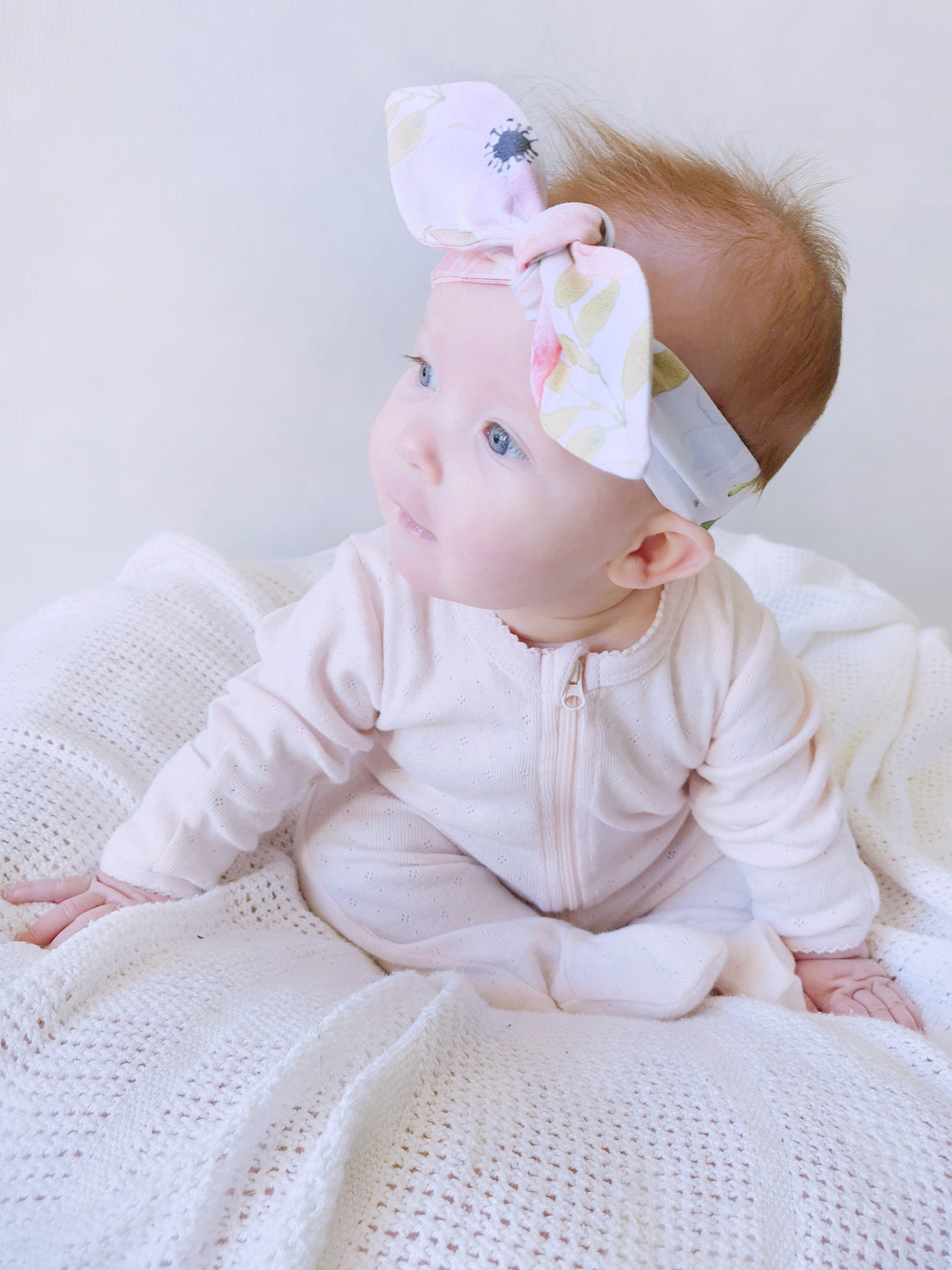 White Rose Top Knot Headband