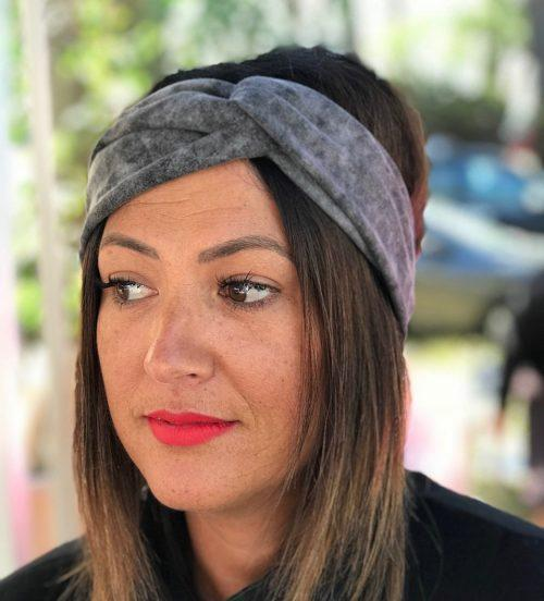 Black Acid Wash Turban Headband