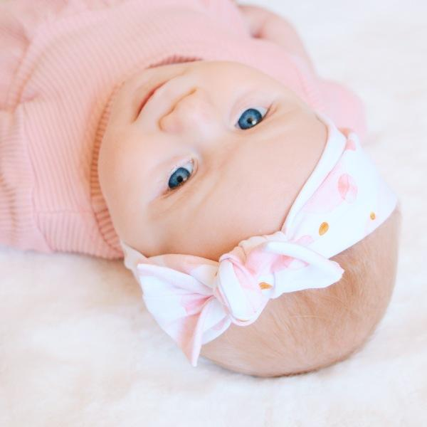 Blush Bubbles Print Bow Knot Headband