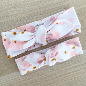 Blush Bubbles Print Top Knot Headband