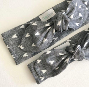 Charcoal Linen Hearts Print Top Knot Headband
