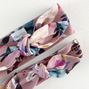 Dusty Rose Floral Top Knot Headband