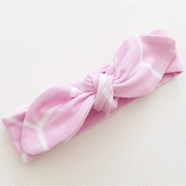 Candy Pink Geo Print Top Knot Headband