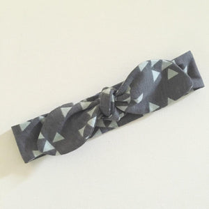 Charcoal & Mint Triangles Top Knot Headband