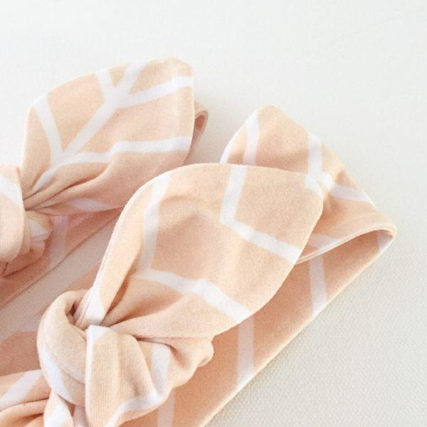 Peach Chevron Print Top Knot Headband