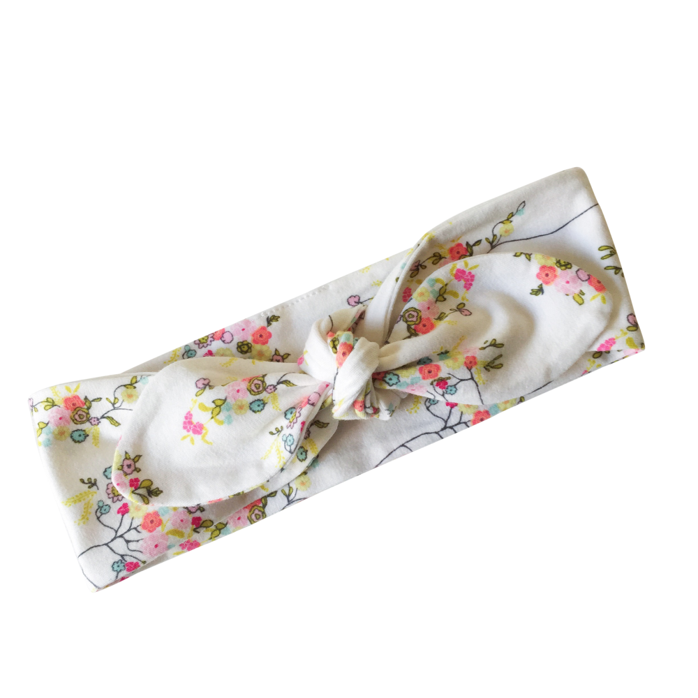 Off White Floral Print Top Knot Headband