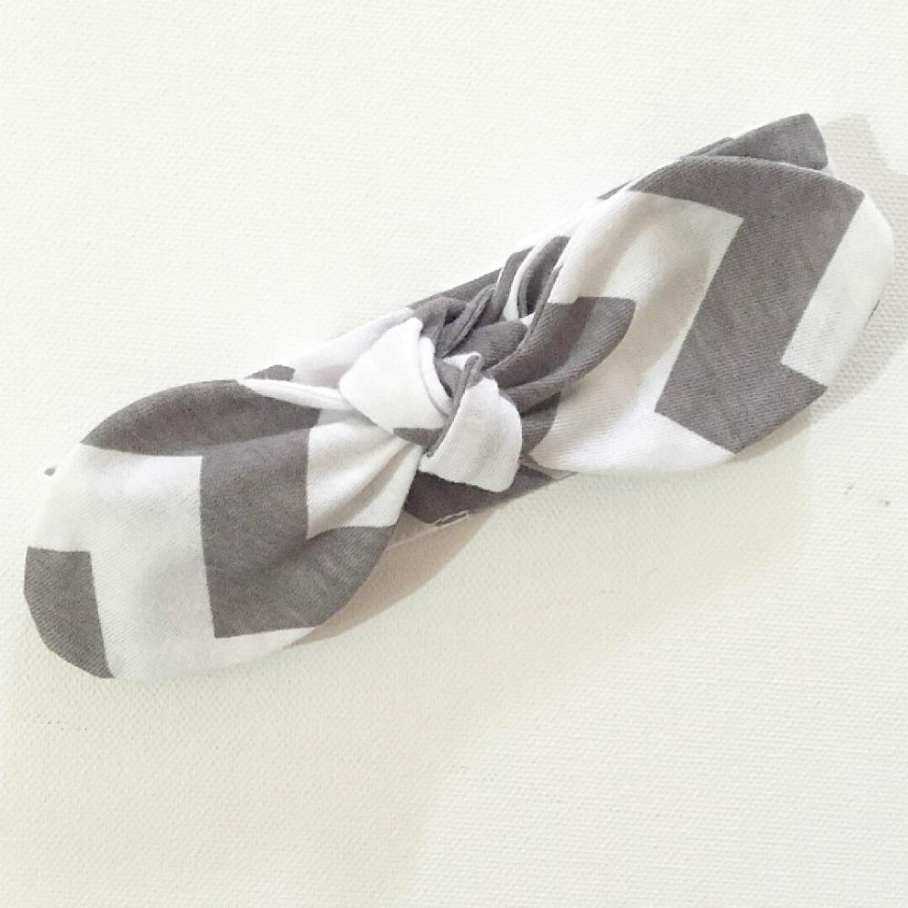 Grey Chevron Top Knot Headband