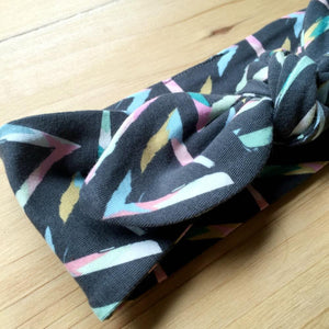 Charcoal Geo Splash Top Knot Headband