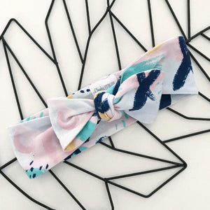 Blush Abstract Print Bow Knot Headband