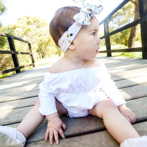 Navy, Blush & Mustard Confetti Print Top Knot Headband