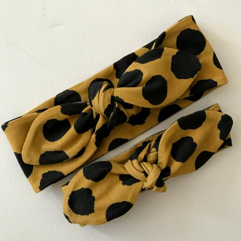 Mustard Monochrome Top Knot Headband