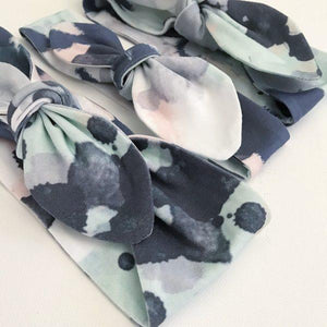 Navy, Blush & Mint Splash Top Knot Headband