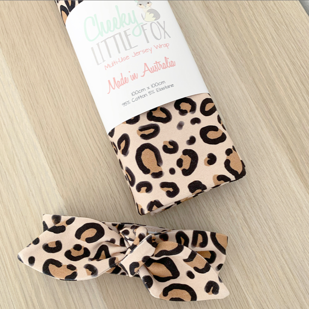 Nude Leopard Print Jersey Wrap & Top Knot Headband Gift Set