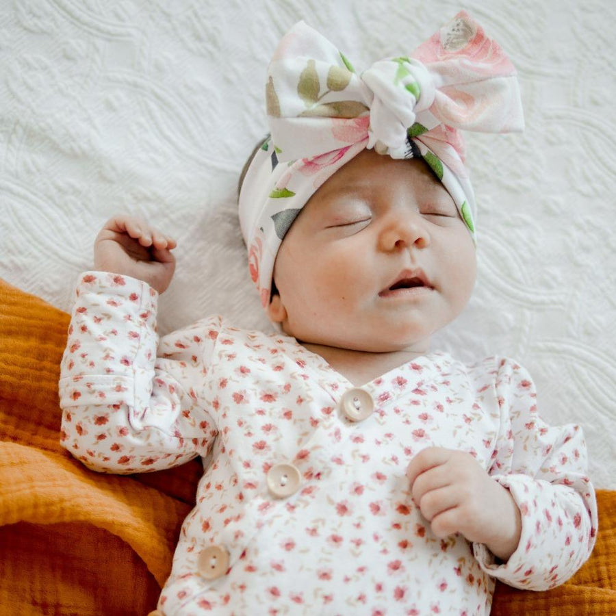 White Rose Floral Bow Knot Headband