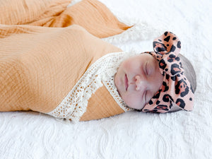 Bronze Leopard Top Knot Headband