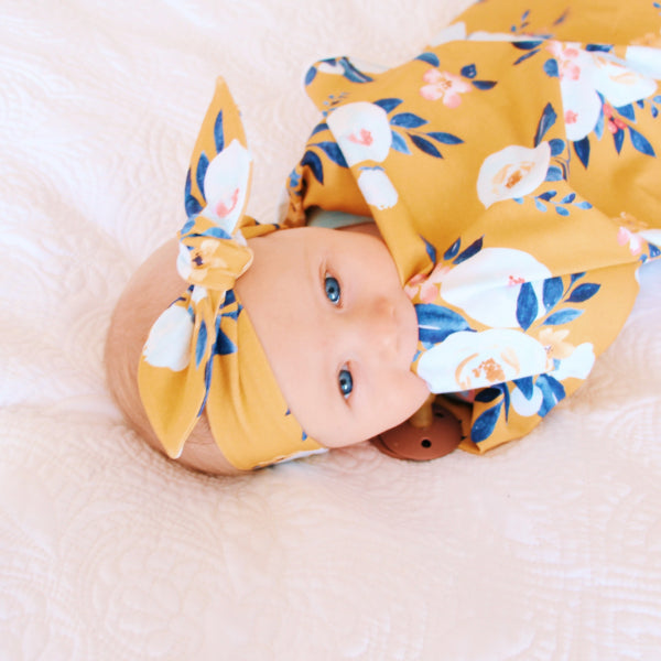 Mustard Peony Floral Jersey Wrap & Top Knot Headband Gift Set