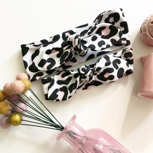 Baby Pink and Black Leopard Print Top Knot Headband