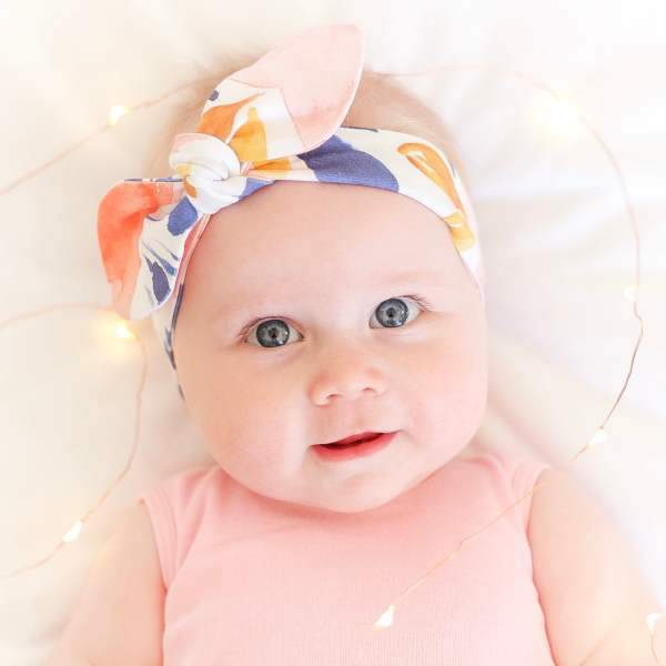 Rose, Mustard & Navy Splash Top Knot Headband