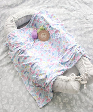 Spring Fling Floral Jersey Wrap & Bow Knot Headband Gift Set