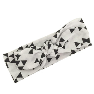 Monochrome Triangles Top Knot Headband
