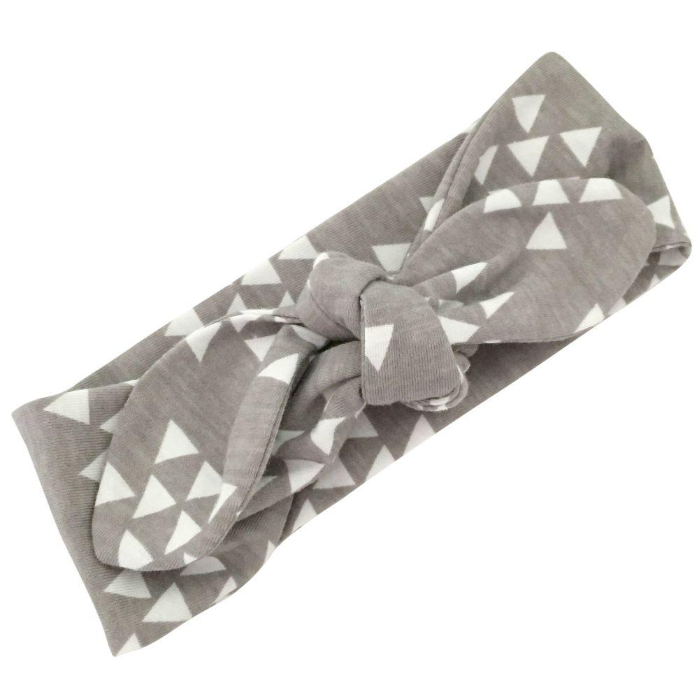 Grey & White Triangles Top Knot Headband