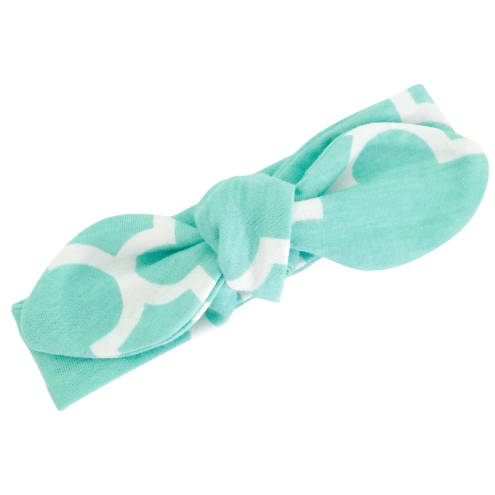 Aqua & White Print Top Knot Headband