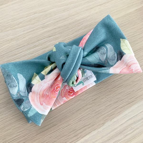 Teal Floral Bow Knot Headband