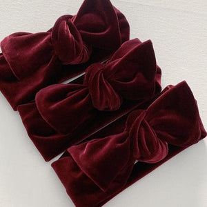 Wine Velvet Bow Knot Headband