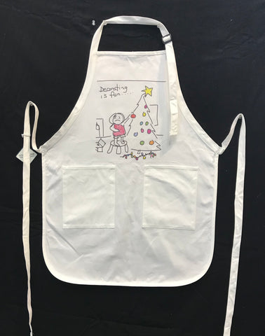 "Aprons have arrived! 28"" adjustable with 2 pockets."