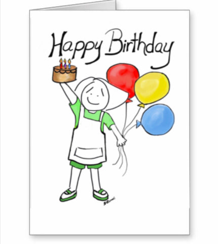 Happy Birthday in apron