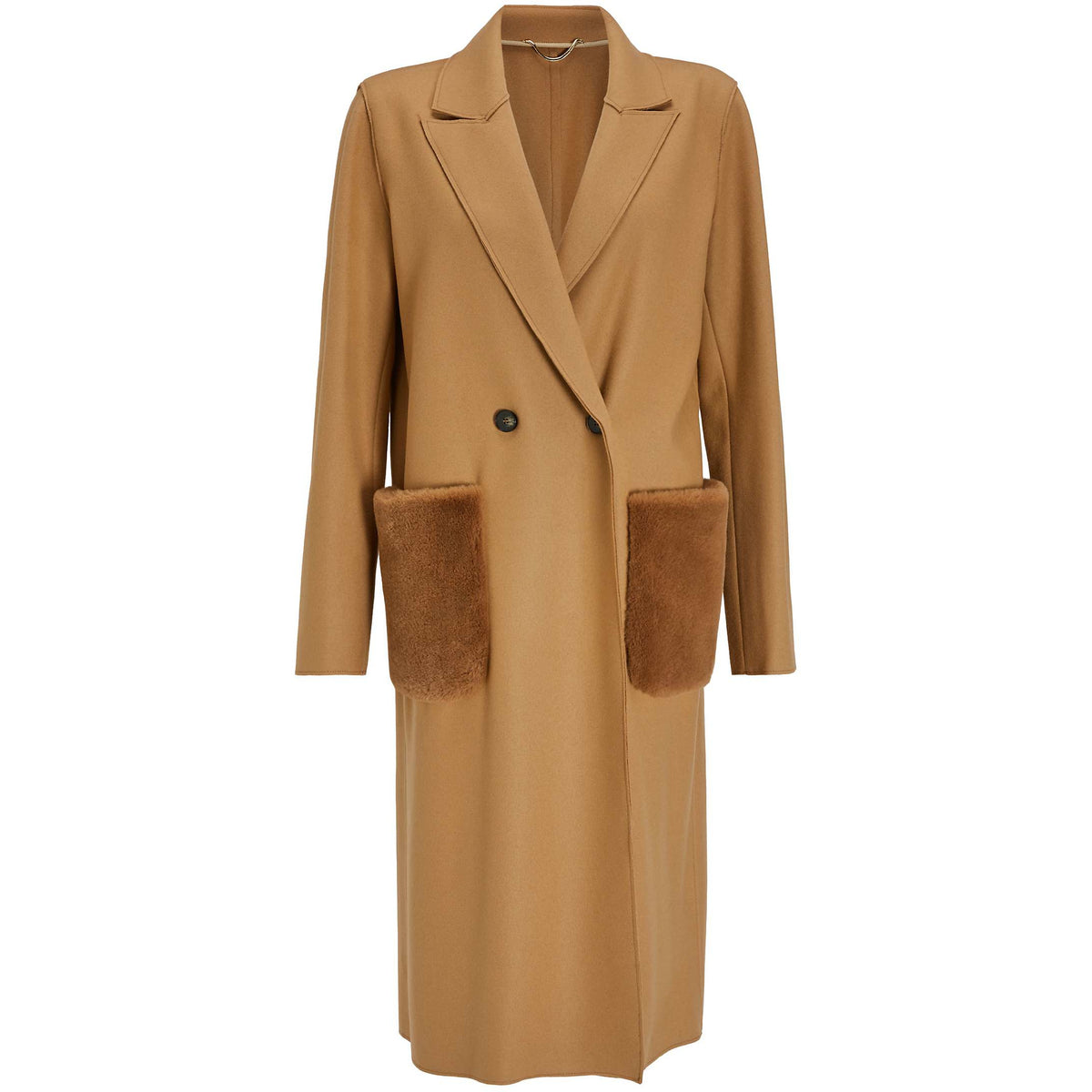 VIGNOLA FAUX FUR POCKET LONG COAT CAMEL