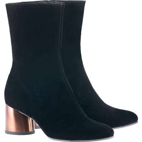 HOGL MASTERPIECE VELVET COPPER HEEL BOOT BLACK