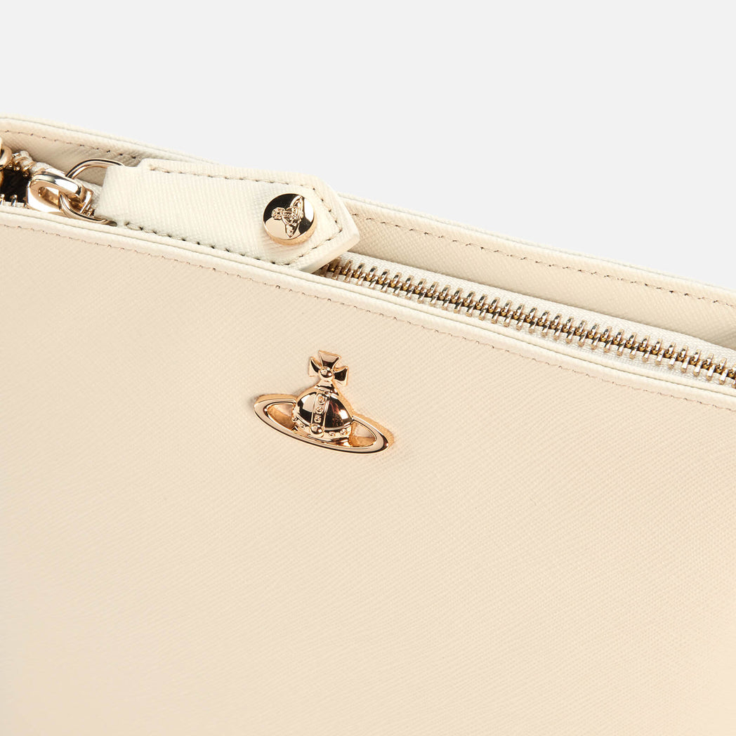 VIVIENNE WESTWOOD ACCESSORIES VICTORIA NEW SQUARE CROSSBODY BAG IVORY