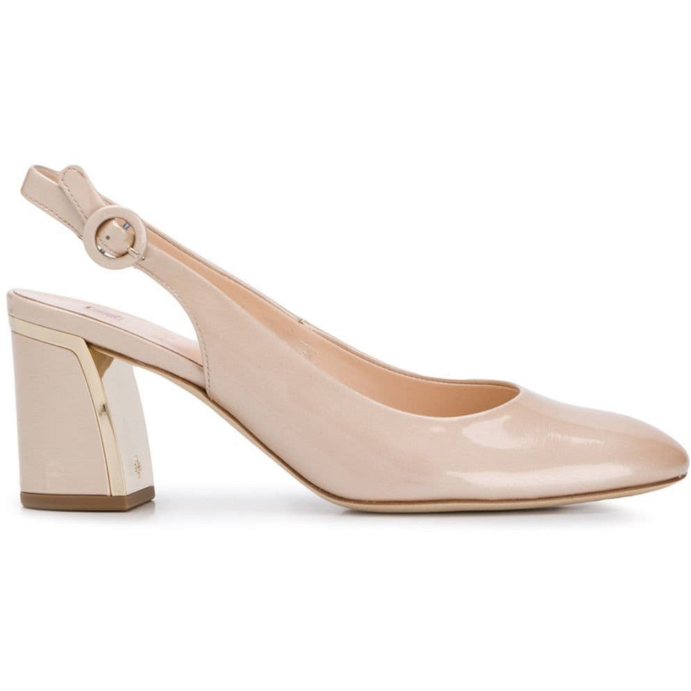 HOGL PATENT MIRRORED BLOCK HEEL SLING BACK PUMP BLUSH