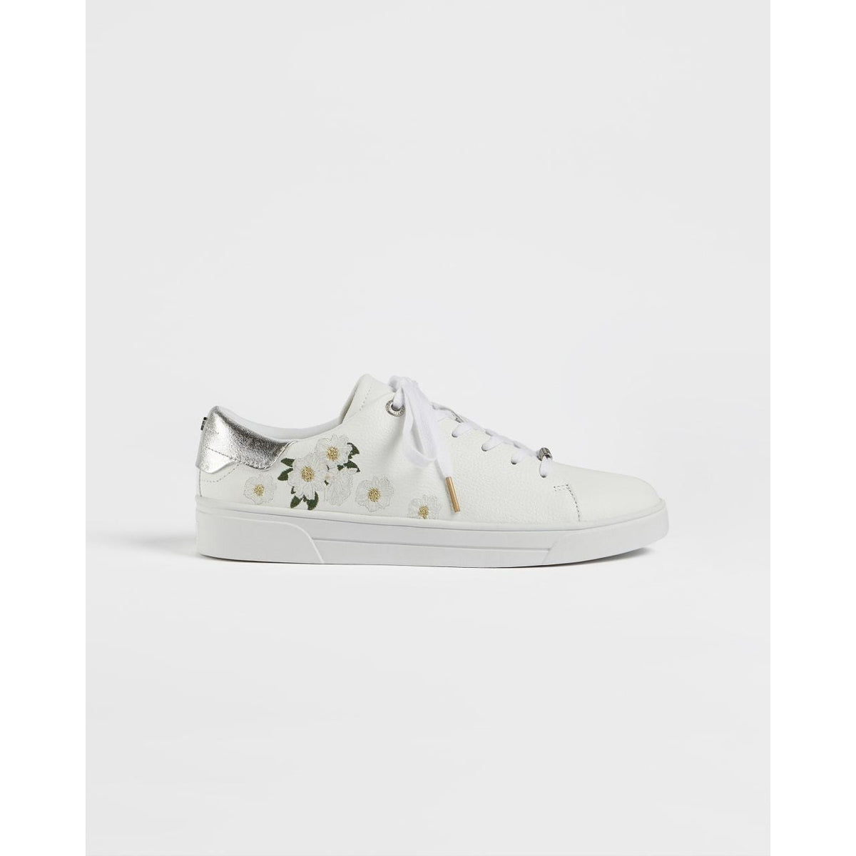TED BAKER ADIA EMBROIDERED TRAINERS WHITE