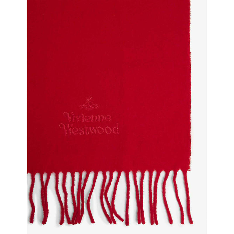LAMBS WOOL EMBROIDERED 30X180 SCARF RED