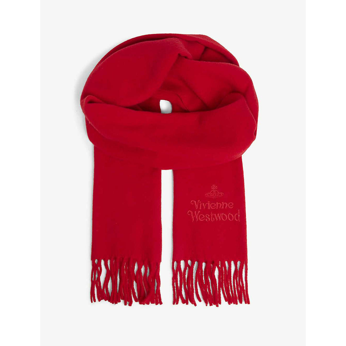 VIVIENNE WESTWOOD LAMBS WOOL EMBROIDERED 30X180 SCARF RED