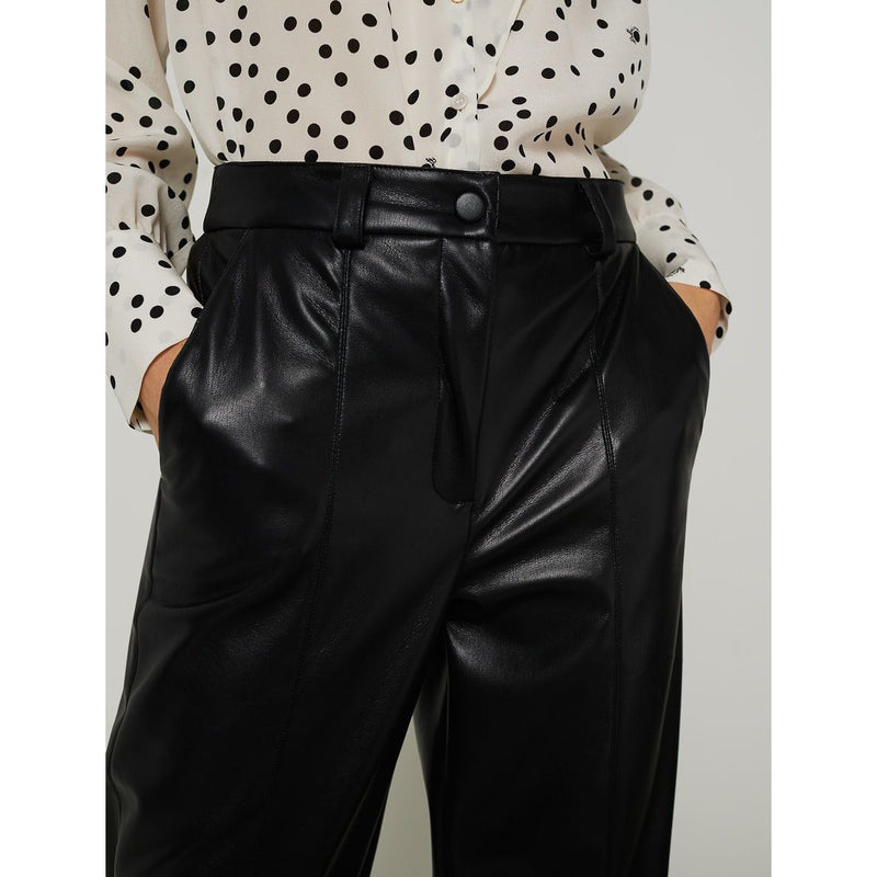 MONICA CARROT LEG LEATHER LOOK TROUSERS BLACK