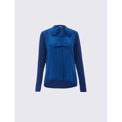 MARELLA ALVARO JERSEY KNIT SHIRT WITH BOW BLUE
