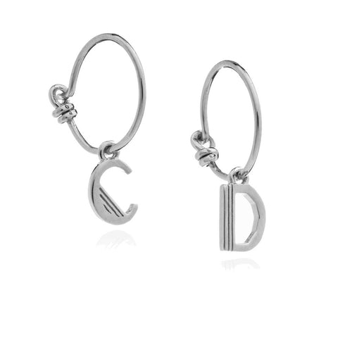 RACHEL JACKSON LONDON SILVER 'THIS IS ME' INITIAL MINI HOOPS