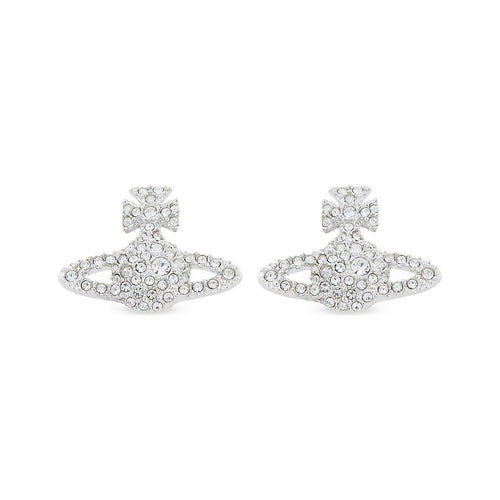 VIVIENNE WESTWOOD JEWELLERY GRACE BAS RELIEF STUD EARRINGS RHODIUM/CRYSTAL