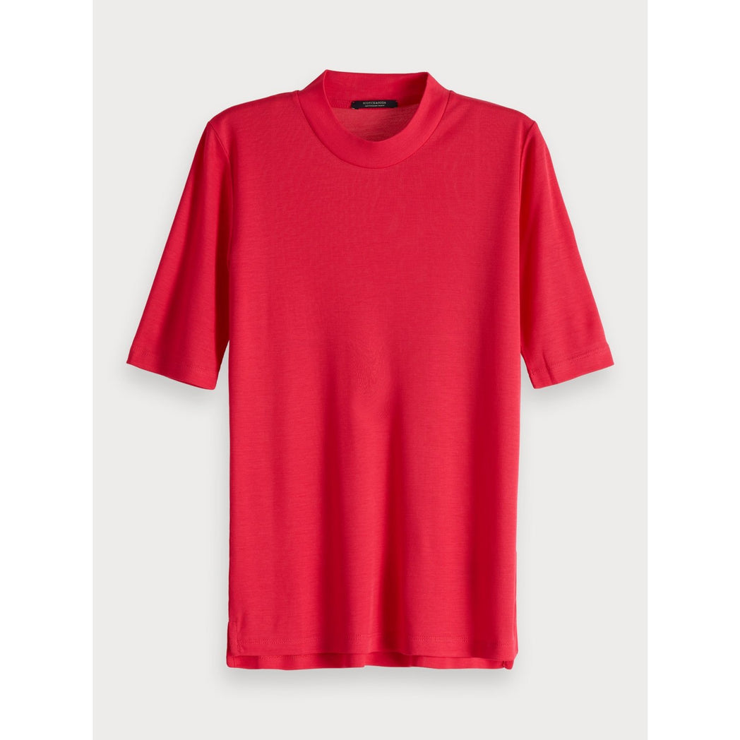 SCOTCH & SODA HIGH NECK T-SHIRT CERISE