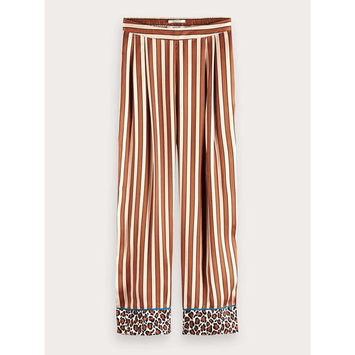 SCOTCH AND SODA BOTANICAL PRINT WIDE LEG PYJAMA PANTS NUDE/BROWN STRIPE